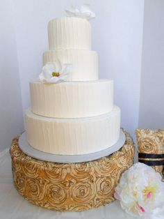 Charming Wedding Cake Stand In Cool Gold And Black Ribbon By FinishYourCake, $68.00