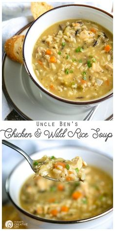 Using Uncle Ben's Wild Rice as your base for a quick and delicious soup! Chicken… Using Uncle Ben's Wild Rice as your base for a quick and delicious soup! Chicken and Wild Rice Soup Easy Soup Recipes, Cooking Recipes, Healthy Recipes, Chicken Recipes, Fast Recipes, Quick Dinner Recipes, Simple Recipes, Fast Easy Dinner, Quick And Easy Soup