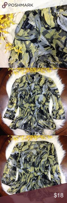 """🎁INC   yellow & black printed ruffles blouse Internatonal Concepts. Yellow and black watercolor print. Cinched at the waist. Open neckline. Ruffles at the wrist and hem. EUC, excellent used condition.  L: 23.5"""" Pit to Pit: 14"""" Sleeve Length: 14""""  100% Polyester INC International Concepts Tops Blouses"""
