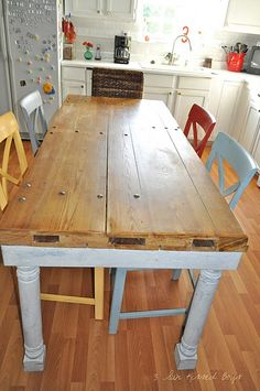 Farmhouse table made from garage door. by jayembp Garage Door Panels, Garage Door Styles, Rustic Vintage Decor, Shabby Chic Decor, Outdoor Farm Table, Outdoor Living, Farm Tables, Repurposed Furniture, Cool Furniture