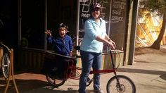 Gracie and her son, Happy on their new Haul-a-Day Four Square, Bicycle, Happy, Shopping, Bike, Bicycle Kick, Bicycles, Ser Feliz, Being Happy
