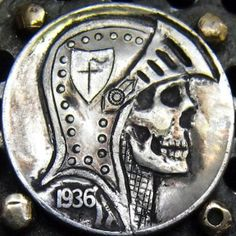 LARRY FOSTER HOBO NICKEL - DEAD OF THE KNIGHT - 1936 BUFFALO PROFILE Hobo Nickel, Coin Art, Skull Art, Macabre, Larry, Skulls, The Fosters, Skeleton, Knives