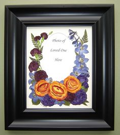 Funeral Flowers are pressed and preserved and displayed around a loved one's photo!  Pressed Garden ~ Annie Fentz Smith ~ www.pressedgarden.com