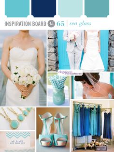 Sea glass wedding colors.