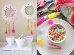 bricolage facile pour enfants - fabriquer un attrape rêve en assiette en carton, perles multicolores et plumes