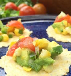 Corn and Avocado Salsa on 34 Degrees Toasted Onion Crisps