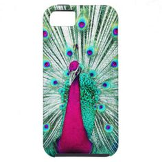 Bright regal peacock girly pink teal bird nature iPhone 5 case
