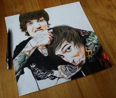 Oliver Sykes and Josh Franceschi (Bring Me The Horizon/You Me At Six) drawing, material used: Caran D'ache Aquarelle pencils, Dessin á Grain grained paper 82lb. Prints available here: https://www.etsy.com/nl/listing/224068583/oliver-sykes-and-josh-franceschi? If there's a specific size that you want, just let me know :D