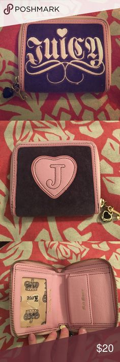 Juicy Couture Wallet An authentic Juicy Couture wallet! The colors are baby pink (leather and embroidery) and dark brown (velvet material). Has some wear and tear along all corners but in my opinion isn't very noticeable. Juicy Couture Bags Wallets