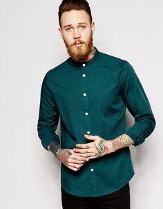 ASOS Shirt In Long Sleeve With Grandad Collar