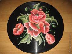 Декор предметов Рисование и живопись: Маки на пластинке. Фото 1