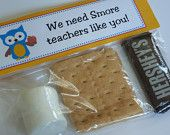 Printable Teacher S'mores Bag Topper with personalized message. $6.00, via Etsy.
