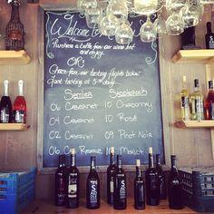 The tasting board at Malibu Wines