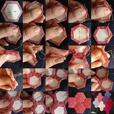 Paper piecing tutorial I've always loved these quilts, if I only had the patience to cut all those papers and pieces!I've always loved these quilts, if I only had the patience to cut all those papers and pieces! Quilting Tips, Quilting Tutorials, Hand Quilting, Hexagon Quilting, Charm Quilt, Paper Piecing Patterns, Paper Pieced Quilts, Pattern Paper, Handmade Tiles