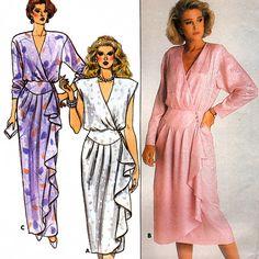 Butterick 3678 Vintage 80s Misses' Wrap Dress by retrowithlana