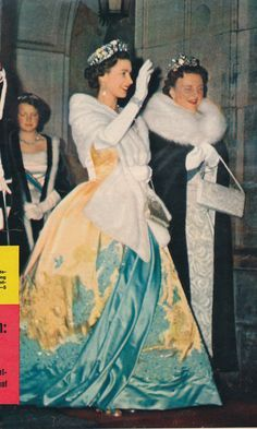 QE II in a nice Hartnell gown, with Queen Juliana of the Netherlands Britain Queen elizabeth gold yellow blue gown tiara Hm The Queen, Royal Queen, Her Majesty The Queen, Save The Queen, Young Queen Elizabeth, Isabel Ii, Royal Dresses, Queen Of England, Royal House