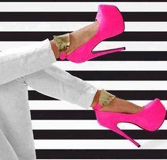Mysterious Contrast Color PU Ankle Strap Platform Heels