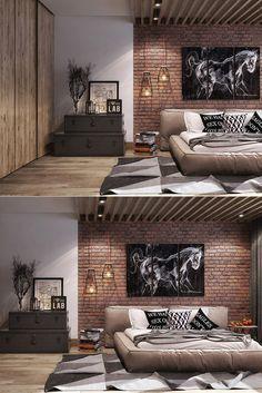 (Via bedrooms with exposed brick walls) brick wall decor, bedroom wall de. Brick Wall Bedroom, Brick Wall Decor, Bedroom Wall Designs, Modern Bedroom Design, Master Bedroom Design, Home Decor Bedroom, Bedroom Images, Industrial Bedroom Design, Indian Bedroom Decor