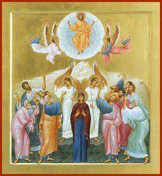 Вазнесење Byzantine Icons, Byzantine Art, Jesus Art, Jesus Christ, Ascension Of Jesus, Church Icon, Christian Artwork, Religious Paintings, Blessed Mother Mary