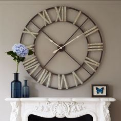 A statement clock for over a mantle or pretty much anywhere else! Big Wall Clocks, Silver Wall Clock, Industrial Clocks, Chimney Breast, How To Make Wall Clock, Clock Decor, Mantle Clock, Mantel, Large Clock