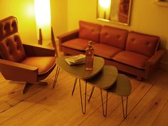 Lundby dollhouse furniture. Need those stacking hairpin leg tables!                                                                                                                                                                                 More