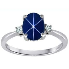 1.65 cttw Tommaso Design(tm) Lab Created Oval Star Sapphire Engagement Ring in 14 kt White Gold Size 7, (engagement rings, sapphire, azlio, beautiful, jewelry, ring, star sapphire, synthetic star sapphire, white gold)