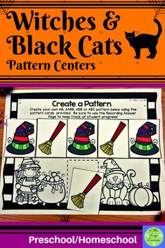 Do you have children in your class who are at different stages of learning? Are you teaching one theme that you want all of your kids to have access to with patterns? This Witches Numbers Preschool, Preschool Math, Halloween Activities, Preschool Halloween, Halloween Witches, Morning Activities, Cat Activity, Dramatic Play, Cat Pattern