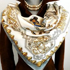 Authentic Vintage Hermes Silk Scarf Ludovicus Magnus Gray