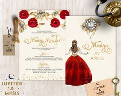 Gold, Red Quinceañera Invitation, Quinceanera Invitation, Invitacion de Quinceñera Oro, Gold Floral, Princess, Red and Gold 2 DIGITAL FILE by JupiterAndMarsPrints on Etsy https://www.etsy.com/listing/495097460/gold-red-quinceanera-invitation