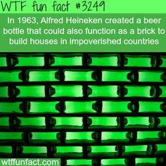 Heineken beer bottles that work as a brick - WTF fun facts