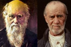 Charles Darwin and George Carlin - Purple Clover - Purple Clover and lots more historic lookalikes
