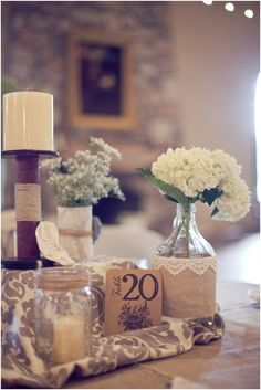 shabby chic centerpiece ideas, burlap and lace, glass jars and candles