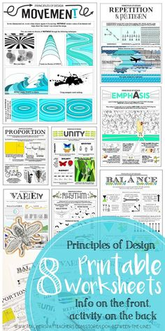 This principles of design worksheet packet includes eight printable worksheets that include activities to teach your students about the principles of design It includes p. Principles Of Design Movement, Elements And Principles, Elements Of Art, High School Art, Middle School Art, Art Worksheets, Printable Worksheets, Principals Of Design, Visual Art Lessons