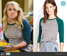 Gabi's green and grey baseball tee on Young and Hungry.  Outfit Details: https://wornontv.net/67418/ #YoungandHungry