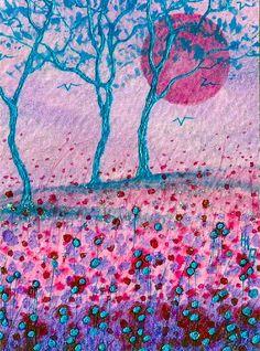 "ACEO Original ""Blue Harmony"" Painting - By Hélène Howse  #Miniature"