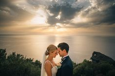 This couple in this location with this sky...amazing!  Dusty Rose Spanish Wedding  #weddingphotography #couplesportrait