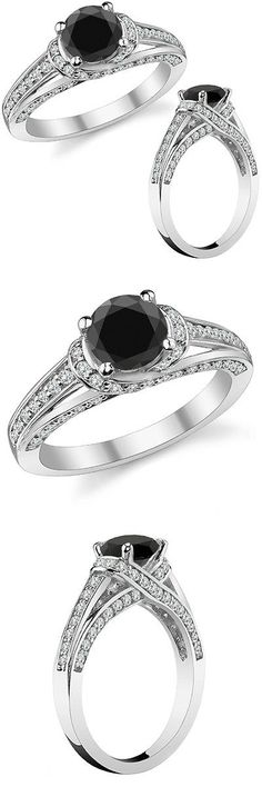 Diamond 67726: 2.50 Carat Black Diamond Wedding Engagement Halo Solitaire Ring 14K White Gold -> BUY IT NOW ONLY: $963.48 on eBay!
