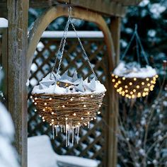 Decorate the outside of flower hanging baskets with white Christmas lights and fill them with anything Christmas-y. Mix lights with the filling as well. -patio...