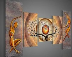 hand-painted promotion free shpping framed on the back oil wall art Orange trees dancing home decoration abstract Landscape oil painting on canvas 5pcs/set by best, http://www.amazon.ca/dp/B00CJT1R2K/ref=cm_sw_r_pi_dp_LYNetb10HV1BF