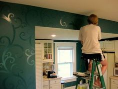 Gloss paint over matte for interesting yet subtle walls. Could use a stencil