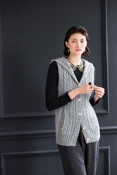 Ravelry: #22 Hooded Cable Vest pattern by Yoko Hatta (風工房) | Worsted wt.