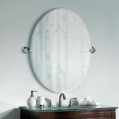 "Gatco Tiara Chrome 32"" High Frameless Oval Wall Mirror"