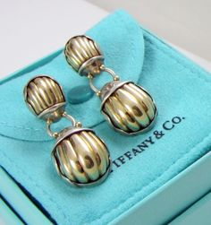 Tiffany & Co-Large-SCARAB-Sterling-Silver-18k-Yellow-Gold-Body-Pierced-Earrings