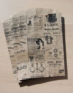 12 Vintage style Newspaper kraft bags by FoxandHoundPaperie, $8.00