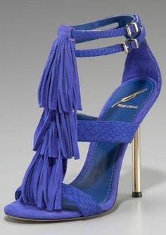 B Brian Atwood Fringe T-Strap Sandal shoes to match Blue Suede Shoes, Purple Suede, Brian Atwood, Carrie Bradshaw, Beautiful Sandals, T Strap Sandals, Fringe Sandals, Shoes Sandals, Fashion Heels