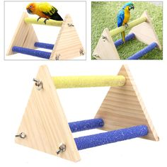 Assembled Triangle Wooden Colorful Bird Stand Fun Geek Gadget Toys Gift