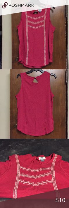 Old Navy Pink Tank Pink embroidered Old Navy tank. Light and comfortable for summer. Only worn a few times. Willing to negotiate price, just offer! Old Navy Tops Tank Tops
