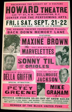 1979 Howard Theatre Concert Poster — Maxine Brown, The Marvelettes, Sonny Til & The Orioles, Della Griffin, Bullmoose Jackson, Emcees Petey Greene & Mike Graham