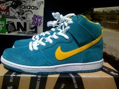 NIKE DUNK HIGH PRO SB TROPICAL TEAL/UNIVERSITY GOLD-WHITE #sneaker