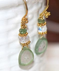 Watermelon Tourmaline Slices Pastel Gemstone Moonstone Pink Green Gold Vermeil Dangle Drop Earrings Handmade Gemstone Jewelry.